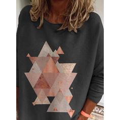 Geometrisch Print Ronde Hals Casual Truien