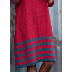 Pruhované Dlouhé rukávy Splývavé Délka ke kolenům Neformální Šaty