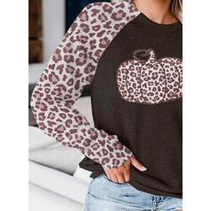 Leopard Halloween round Neck Langermer Genser