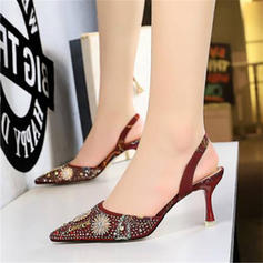 Women's Silk Like Satin Stiletto Heel Sandals Pumps Closed Toe With Rhinestone shoes