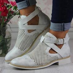 Mulheres PU Sem salto Sem salto Fechados Botas Bota no tornozelo com Fivela Oca-out sapatos