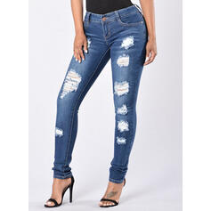 Shirred Übergröße Zerrissen Lange Elegant Einfach Denim Jeans