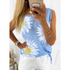 Impresión Floral Cuello redondo Sin mangas Casual Camisetas sin mangas