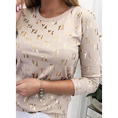 Figure Print Round Neck Long Sleeves T-shirts