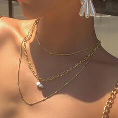 Cadena de enlace Artístico Aleación con Perlas de imitación Sistemas de la joyería Collares 3 PIEZAS