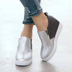 Kvinner PU Flat Hæl Flate sko med Glidelås sko