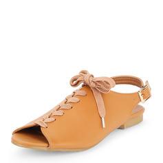 Mulheres Couro Sem salto Sem salto Peep toe Sapatos abertos com Aplicação de renda sapatos