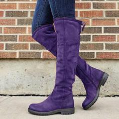 Donna PU Tacco basso Stivali al ginocchio con Cerniera scarpe