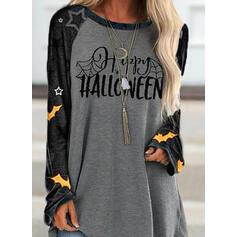 halloween Print Color Block Letter Ronde Hals Lange Mouwen Sweatshirts
