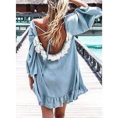 Solid/Backless 3/4 Sleeves Shift Above Knee Sexy/Casual/Vacation Tunic Dresses