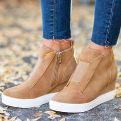 Women's Suede Wedge Heel Platform Wedges With Zipper shoes