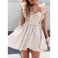 Solid Short Sleeves Small Flying Sleeve A-line Above Knee Casual Skater Dresses