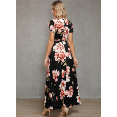 Print/Floral Short Sleeves A-line Casual/Boho/Vacation Maxi Dresses