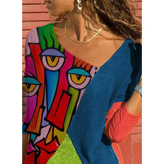 Impresión Bloque de color Cuello en V Manga Larga Casual Blusas