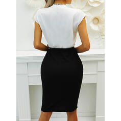 Color Block Short Sleeves Bodycon Knee Length Elegant Pencil Dresses
