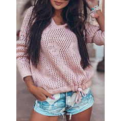 Solid Hollow-out Hooded Casual Sweaters
