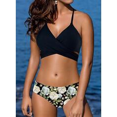 Blumen Träger Schön Bikinis Badeanzüge