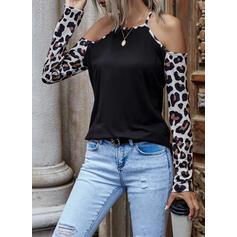 luipaard Cold Shoulder Lange Mouwen Casual Overhemd