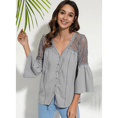 Solid Lace V-Neck Flare Sleeve 3/4 Sleeves Button Up Casual Elegant Blouses