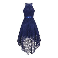 Lace/Solid Sleeveless A-line Asymmetrical Vintage/Party/Elegant Dresses