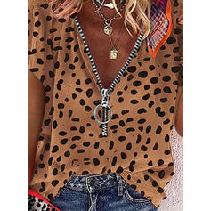 λεοπάρδαλη V-nyak Rövidujjú Hétköznapokra Μπλούζες