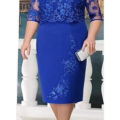 Lace/Solid 3/4 Sleeves Sheath Casual/Elegant Midi Dresses