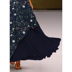 Print/Floral Sleeveless Shift Tank Casual Maxi Dresses
