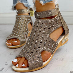Women's PU Low Heel Sandals Peep Toe With Rhinestone Rivet shoes