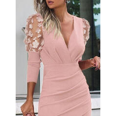 Solid Long Sleeves/Puff Sleeves Bodycon Above Knee Party/Elegant Dresses