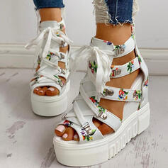 Women's PU Wedge Heel Sandals Platform Wedges Peep Toe With Buckle Flower Crisscross shoes