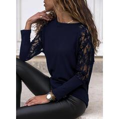 Jednobarevný Krajka Kulatý Výstřih Dlouhé rukávy Elegant Bluze