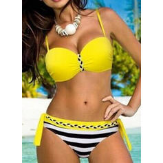 Stripe Underwire Push Up Strap Beautiful Plus Size Bikinis Swimsuits