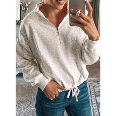 luipaard Afneembare kraag Lange Mouwen Sweatshirts