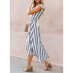 Striped Short Sleeves A-line Asymmetrical Casual/Elegant Dresses