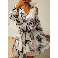 Floral/Animal Print 3/4 Sleeves Sheath Above Knee Casual Dresses