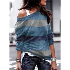 Gestreept One Shoulder Lange Mouwen Casual Breiwerk T-shirts