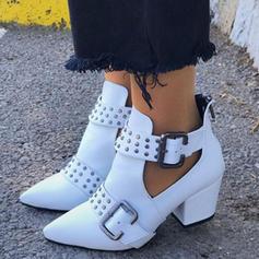 Kvinnor PU Låg Klack Stövlar med Nita Spänne skor
