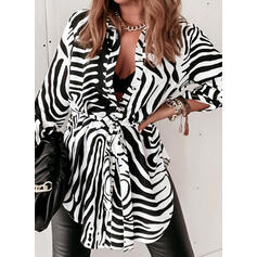 Print Lapel Long Sleeves Button Up Casual Blouses