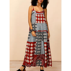 Patchwork Sleeveless Shift Slip Casual/Boho/Vacation Maxi Dresses