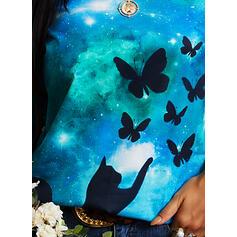 Nadruk Zwierzęcy Okrągły dekolt Długie rękawy T-shirty