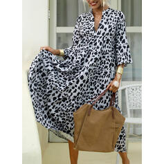 Leopard 3/4 Sleeves/Flare Sleeves Shift Casual Maxi Dresses