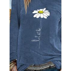 Trykk Blomstrete Rund hals Lange ermer Casual T-skjorter