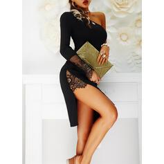 レース/固体 長袖 シースドレス 膝丈 リトルブラックドレス/パーティー/エレガント ドレス