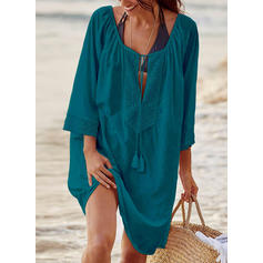 Solid Color Drawstring U-Neck Elegant Cover-ups Swimsuits