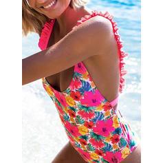 Taglio alto Stampa tropicale Neon Cinghia Sexy Costumi interi Costumi Da Bagno