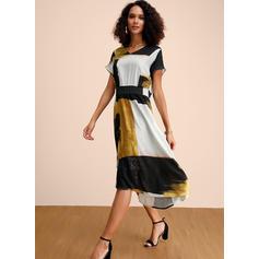 Nadrukowana/Wyszczuplająca Krótkie rękawy W kształcie litery A Casual/Elegancki Midi Sukienki