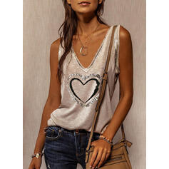 Heart Print V-Neck Sleeveless Tank Tops