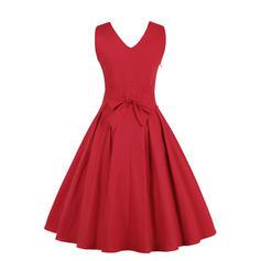 Sólido Sem mangas Evasê Comprimento do joelho Vintage/Festa/Elegante Vestidos