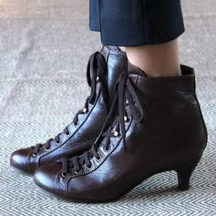 Donna PU Tacco a rocchetto Stivali alla caviglia con Allacciato scarpe