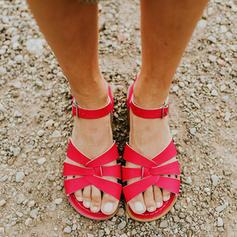 Femmes PU Talon plat Sandales Chaussures plates avec Ouvertes chaussures